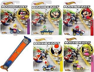 Hot Wheels Mach Kart Mario Character car Set Toy Wario Mariokart Bundle & Princess Peach, Toad Sneeker, Luigi 8 and Mario Standard Cart + Orange Race Track 6 Items