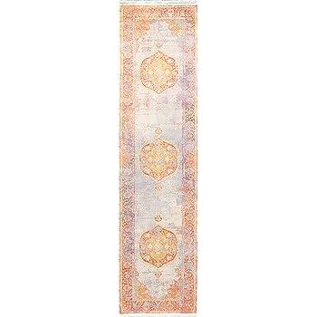 Geometric Vintage Style Distressed Heat-Set Area Rug Medallion Oriental Carpet