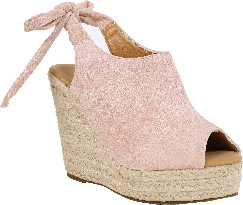 Womens Espadrille Platform Slingback Sandals Wedge High Heel Peep Toe Tied Ankle Strap Suede Summer Shoes
