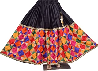 Vintage Phulkari Lehenga Stylish Ghagra Designer Long Flared Skirt
