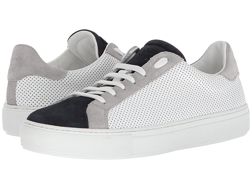 eleventy Perforated Leather Sneaker (Navy/Grey/White) Men