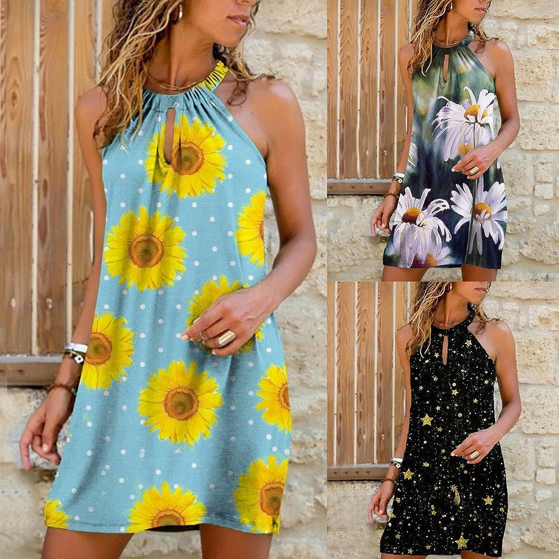 Sun Dresses Women Sexy,Women Halter Neck Sleeveless Dresses Summer Casual Beach Boho Mini Vintage Swing Tunic Dress Sundress