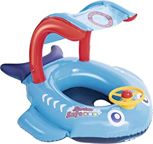 SWIM SAFE Blue Shark Baby Pool Float |Canopy Inflatable Boat for Babies and Toddlers | Baby Float for Swimming and Play