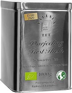 Bio Darjeeling First Flush, Ernte 2020, schwarzer Tee in sehr hochwertiger Edelstahldose Silber gänzend 1000g 44,50Euro/kg rückstandskontolliert & zertifiziert