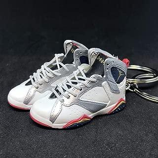 Pair Air Jordan VII 7 Retro Olympic Dream Team White Silver OG Sneakers Shoes 3D Keychain 1:6 Figure