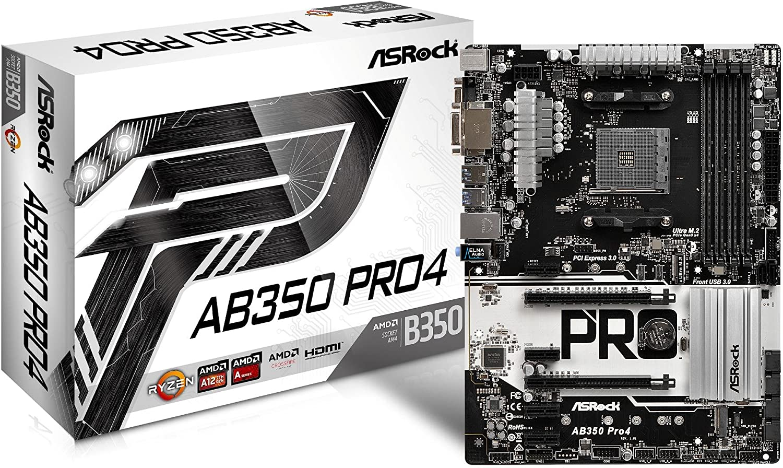 ASRock AB350 Pro4 - Placa Base (Socket AM4, 4 x DDR4, Máx. 64GB, HDMI+DVI-D+D-Sub, 6X SATA3, 1x Ultra M.2 (PCIe Gen3 x4), 1x M.2, 2X PCIe 3.0 x16, 4X PCIe 2.0 x1, 8X USB 3.1 Gen1 (1 Type-C)