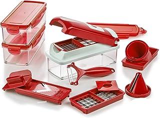 Genius Mandoline Nicer Dicer Smart 16en1 Multifunction Professionelle Rouge - Coupe-légumes avec Grilles de découpe, Pouss...