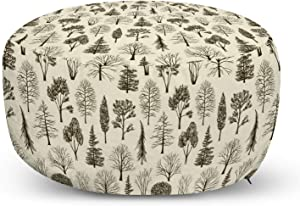 Lunarable Forest Ottoman Pouf, Woodland Pine Oak Chestnut Birch Maple Trees Sketch Hand Drawn Print, Decorative Soft Foot Rest with Removable Cover Living Room and Bedroom, Eggshell and Dark Brown