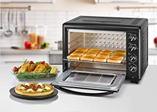 Black+Decker Double Glass Multifunction Toaster Oven with Rotisserie for Toasting/ Baking/ Broiling, Black - TRO55RDG-B5, 55 litre