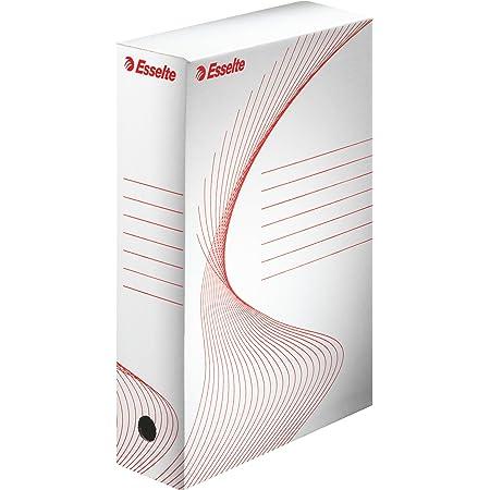 Esselte - 128003 - Boîte à Archive Standard, 80 mm, A4, Boîte Transfert, Carton Ondulé Sans Acide, Lot de 10, Capacité 600 Feuilles, Blanc