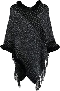 CTM Women's Cable Knit Poncho