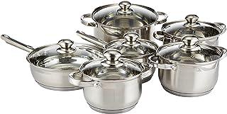 WILSON Stainless Steel 12-Piece Cookware Set - Casserole, Saucepan, Fry Pan | Heavy Duty with Stainless Steel Handle | Ga...