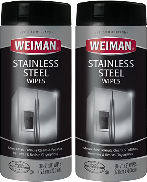 Weiman Stainless Steel Cleaning Wipes 2 Pack Removes Fingerprints Residue Water Marks And Grease From Appliances Works Great On Refrigerators Dishwashers Ovens Grills And More