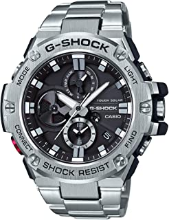 Men's G-Steel by G-Shock Quartz Solar Bluetooth Connected Watch with Stainless-Steel Strap, Silver, (Model: GST-B100D-1ACR)