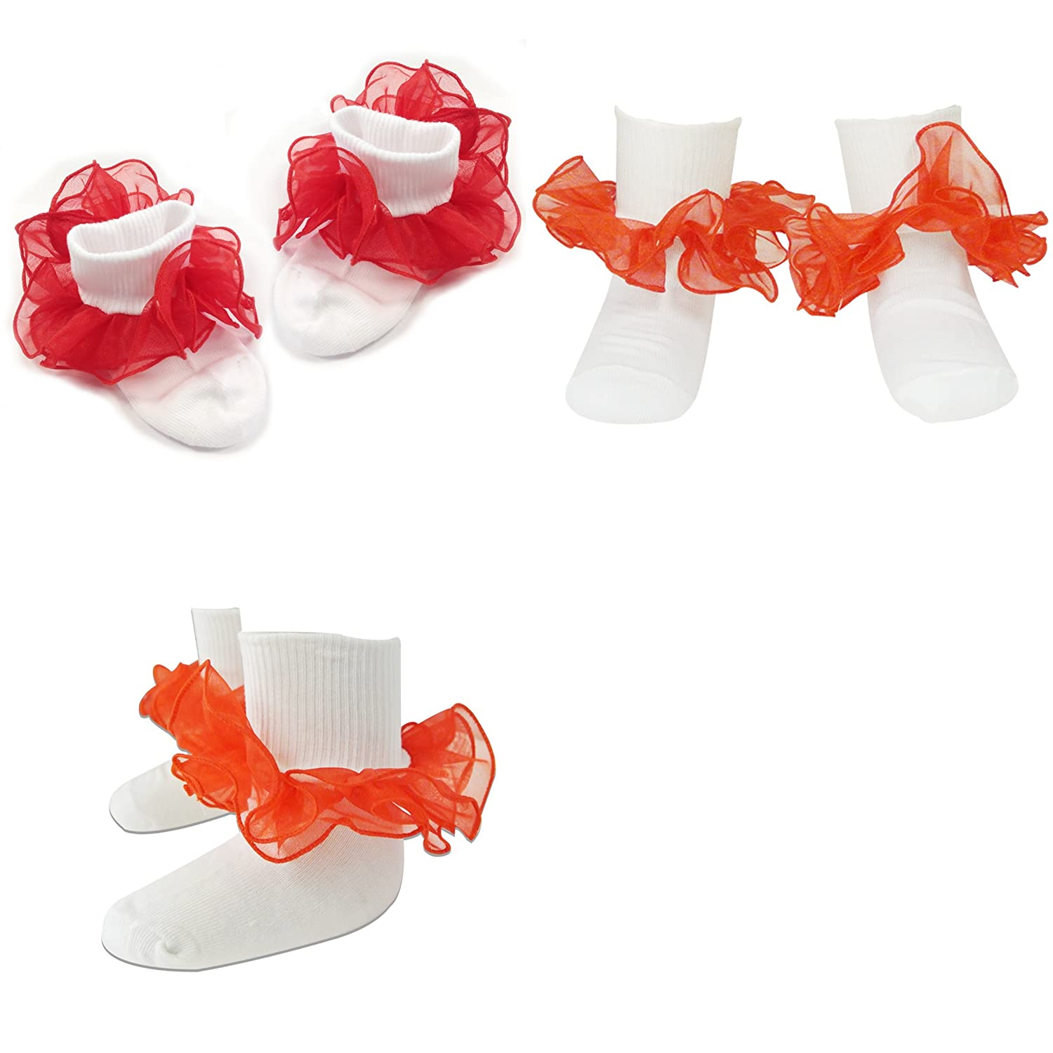 White Blue Size 4-6 Wrapables Lil Miss Mia Organza Ruffle Socks for Toddler Girl Orange - Red Set of 4