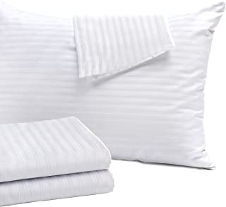 Niagara Sleep Solution 4 Pack Pillow Protectors Standard 20x26 Hypoallergenic 100% Cotton Sateen Tight Weave 3-4 Micron Pore Size High Thread Count 400 Style Zippered White Hotel Quality Non Noisy