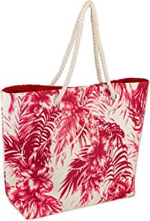 DII Palm Print Beach Bag 15x20x5.5, Cotton Rope Handles Shoulder Travel Tote Coral, Palm Coral