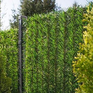 FairyTrees Seto Artificial, GreenFences, Cubierta de Valla, Terraza, Balcón, Verde Claro, de PVC Sintético, Siempre Verde, Altura 100 cm, 5 m