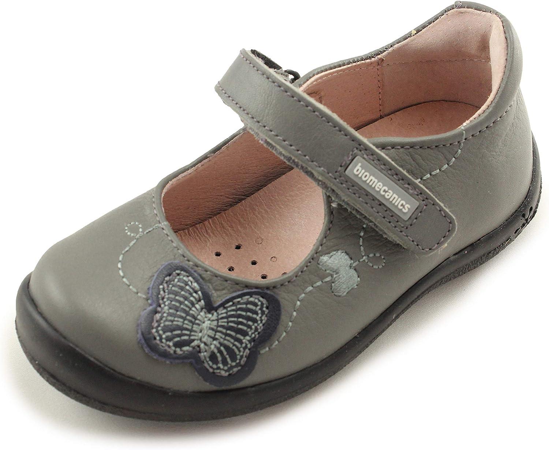 Biomecanics Girls Mary Jane Leather Shoes with Arch, Ankle and Orthopedic Support 161111 Boriska Gris Napa EU 27/US 9.5-10 Toddler Grey