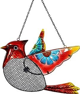Exhart Cardinal Bird Feeder – Metal Cardinal Hanging Bird Feeder w/Metal Mesh Seed Basket – Features Blue Flower Painting on Fiery Red Cardinal Bird, Garden Art Metal Bird Feeders, 15 x 18 Inches