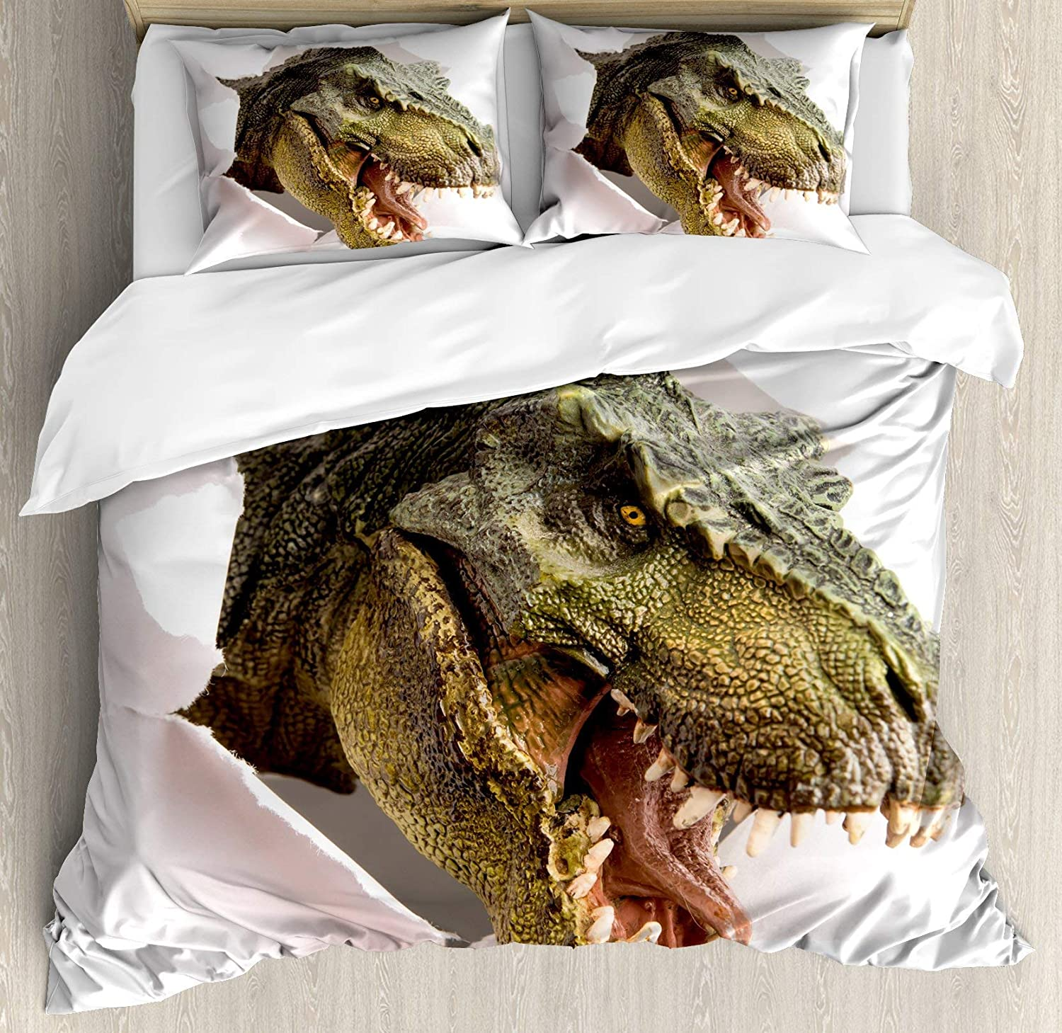 USOPHIA Dinosaur 4 Pieces Bed Sheets Set Twin Size, Dangerous Dinosaur Tears Up The Paper Wall Image Scary Break Scenery Floral Duvet Cover Set, Green Army Green White