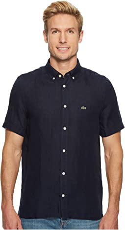 Lacoste - Short Sleeve Solid Linen Button Down Collar Regular