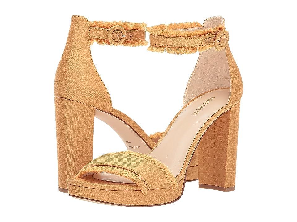 Nine West Daranita Platform Heel Sandal (Gold Fabric) High Heels