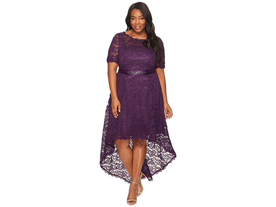 Adrianna Papell Plus Size Short Sleeve Lace Dress with High-Low Hem (Night Wine) Women