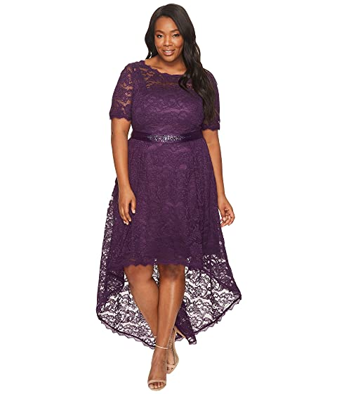 Adrianna Papell Plus Size Short Sleeve Lace Dress With High Low Hem
