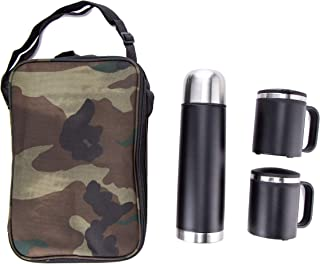 Xena 4 Piece Stainless Steel and Plastic Travel Coffee Tea Tote 500ml Thermos 2 Mug with Lid Camo Carrying Bag Set, 10.5 x 3 x 3.5 Inch Camping Outdoor BBQ Hunting Accessories Supplies