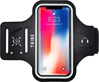 Tribe Water Resistant Cell Phone Armband Case for iPhone 11, 11 Pro Max, Xs Max, Xr, 8 Plus, 7 Plus, 6 Plus, Galaxy S10 Plus, S9 Plus, S8 Plus, Notes and More. Adjustable Elastic Band & Key Slot