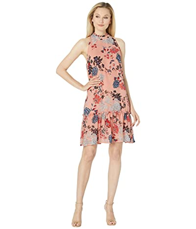 American Rose Uma Mock Neck Floral Dress (Pink/Blue) Women