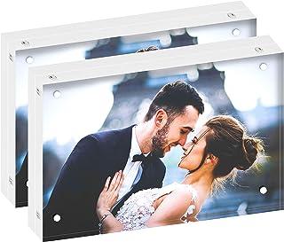 DEKIRU Acrylic Photo Frame - 4x6 (2 Packs), 20mm Thick • Magnetic Acrylic Frame • Frameless Desktop Picture Frames • Float...