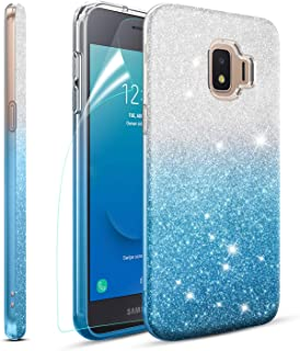 Meker Case for Samsung Galaxy J2 Case J2 Shine, Galaxy J2 Core, J2 Dash, J2 Pure Case,Luxury Glitter Phone Case,Shockproof TPU Rugged PC Protective Back Cover with Soft Screen Protector(Blue)