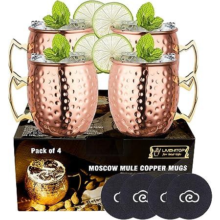 LIVEHITOP Moscow Mule Taza de Cobre Set of 4, Mula de Moscú Copas de Cóctel con Costers para Fiesta, Bar, Casa, Hotel (Pack of 4)