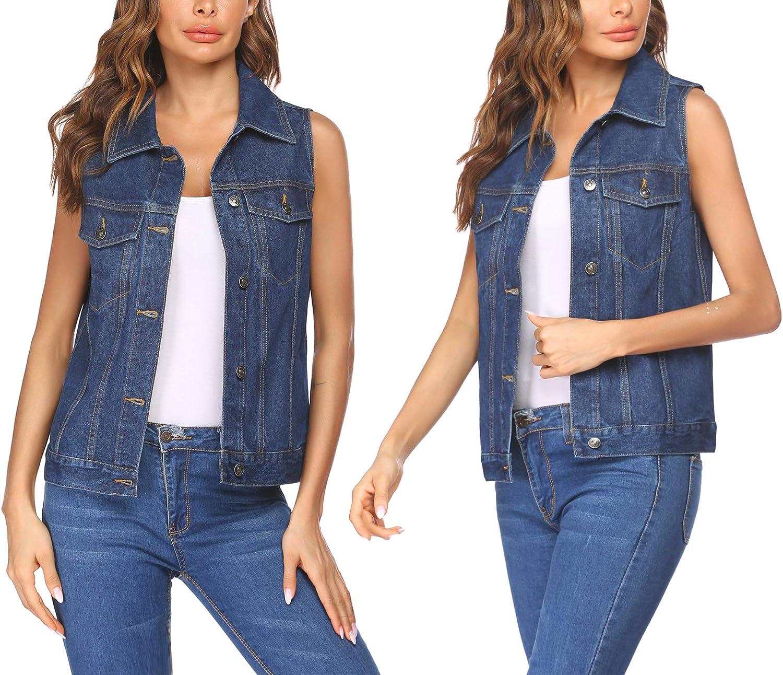 Chainscroll Women's Denim Vest Casual Classic Jean Jackets W Chest Flap Pockets