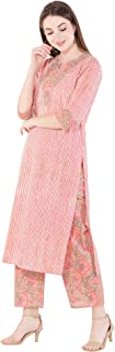 Harshana Women's Cotton Printed Kurta With Palazzo Set (Pink)