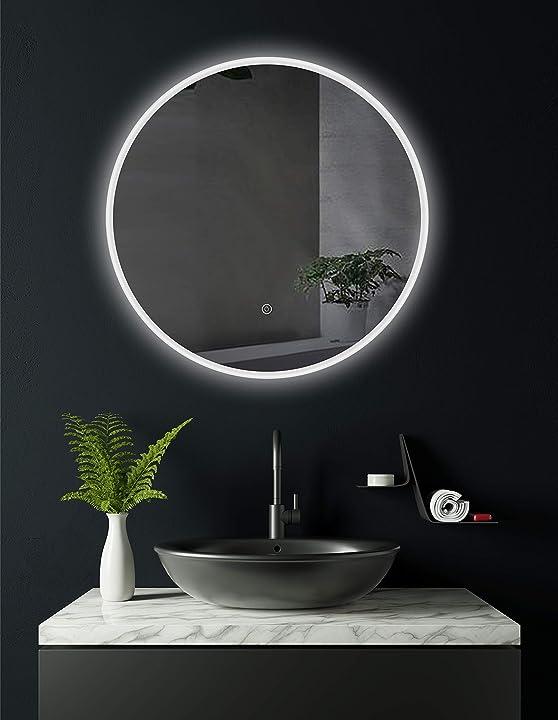Specchio da bagno tondo cottbus, con led e diametro da 60 cm, classe di efficienza energetica a+ pontesino gmb HK019
