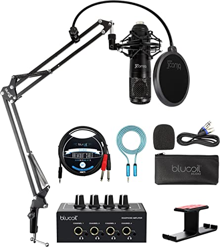 popular Blucoil Cardioid Condenser Studio XLR Microphone Bundle with Boom Arm Plus Pop Filter, Portable Headphone Amp, Aluminum Headphone Hook, 5' TRS to TS high quality Stereo Breakout online Cable, and 6' 3.5mm Extension Cable online