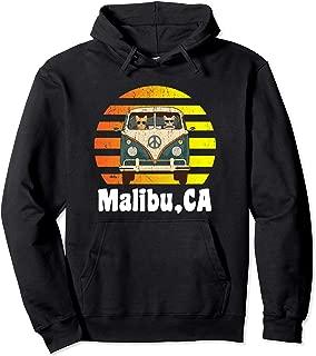 Malibu CA Road Trip Distressed Retro Vintage Hippie Van Pullover Hoodie