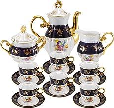 Euro Porcelain Premium 17-pc Dark Cobalt Blue Tea Cup Coffee Set, Vintage Floral Pattern, 24K Gold-Plated Ornament, Complete Tea Service for 6, Original Czech Tableware