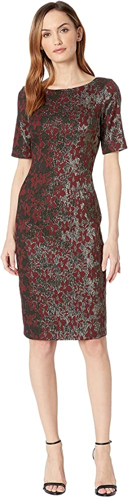 Nadia Metallic Jacquard Sheath Dress with Elbow Sleeves and Bateau Neckline with V-Back.