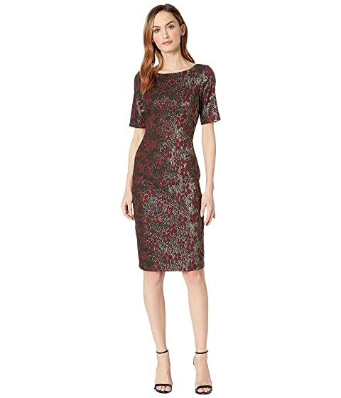 6ce3484aabc Adrianna Papell Nadia Metallic Jacquard Sheath Dress with Elbow Sleeves and  Bateau Neckline with V-Back.