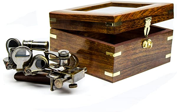 White Starline 5 Premium Nautical Brass Sextant With Deluxe Rosewood Crafted Glass Case Wooden Box Maritime Reproduced Collectibles Children S Gift Nagina International Antique