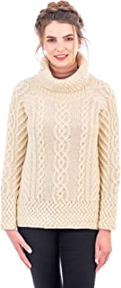SAOL Women's 100% Merino Wool Fisherman Funnel Neck Cable Knit Long Loose Fit Sweater Knitwear