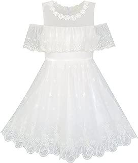 Sunny Fashion Girls Dress Cold Shoulder/Sleeveless Lace Flower Ruffle Size 6-14
