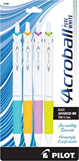 PILOT Acroball PureWhite Advanced Ink Refillable & Retractable Ball Point Pens with Turquoise/Orange/Purple/Lime Accents, ...