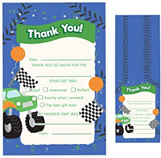 Monster Truck Fill In Thank You Cards (25 Count) With Envelopes Bulk Birthday Party Kids Children Boy Girl (25ct. Fill Thank You)