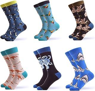 WeciBor Men's Colorful Novelty Patterned Casual Crew Socks Packs