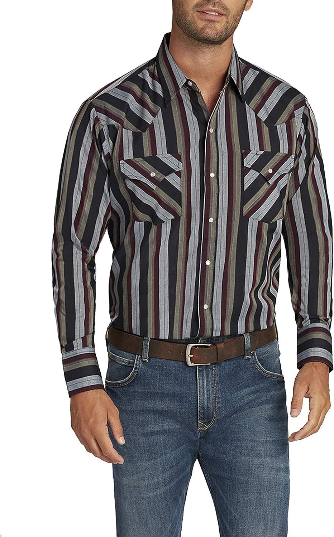 ELY CATTLEMAN Men's Long Sleeve Stripe Shirt